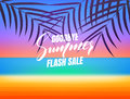 Summer sale. Goodbye summer flash sale banner. Background with tropical beach and palms Royalty Free Stock Photo
