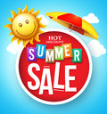 Summer sale hot discount in red circle floating with umbrella and happy sun the cloudy sky for promotion vector Royalty Free Stock Photography