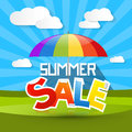 Summer sale illustration with colorful parasol umbrella clouds and green grass Stock Photo