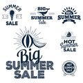 Summer sale clearance vector badges some shopping hand drawn advertising labels illustration. Royalty Free Stock Photo