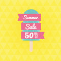 Summer Sale 50% off.  with ice-cream and banner. Royalty Free Stock Photo
