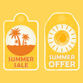 Summer sale and offer with palms and sun signs, yellow drawn lab Royalty Free Stock Photo