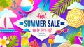 Summer sale promotion banner. Vacation, holidays and travel colorful bright background. Poster or flyer design.