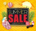 Summer Sale Promotional Design on 3D Frame with Tropical Leaves, Umbrella, Flowers, Slippers, Sunglasses Royalty Free Stock Photo