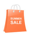 Summer sale shopping bag orange vector illustration Stock Photos