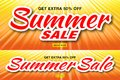 Summer sale template banners with sun rays. Set of glow horizontal sunlight orange background. Vector illustration. Royalty Free Stock Photo