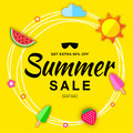Summer sale template flat banner with flat paper sun, watermelon, ice cream, strawberry vector summer design elements.