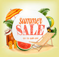 Summer Sale Template Vector Banner With Colorful Beach Elements.