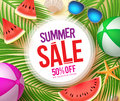 Summer sale text in white circle with colorful vector summer elements Royalty Free Stock Photo