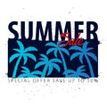 Summer Sale tropical banner with palms and sunset. Summer placard poster flyer invitation card. Summer time. Vector Illustration. Royalty Free Stock Photo