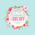 Summer Sale Tropical Flowers Banner, for Discount Poster, Fashion Sale, Market Offer