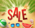 Summer sale vector banner design with palm leaves, elements Royalty Free Stock Photo