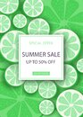 Summer sale vector banner design for promotion with lime colorful beach elements in bright background. Vector illustration