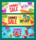 Summer sale vector banner set with 50% off discount text and summer elements