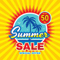 Summer sale - vector concept banner illustration in flat style. Special offer creative badge layout with palms, sea wave, sun. Royalty Free Stock Photo
