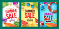 Summer sale vector poster set with 50% off discount text and summer elements Royalty Free Stock Photo