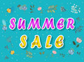 Summer sale with watercolor flowers