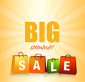 Summer sales background with colorful shopping bags Royalty Free Stock Images