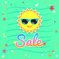 Summer sales banner or poster with smiley sun face wearing sungl