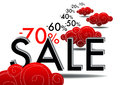 Summer sales with red coud and numer Stock Photo