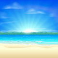Summer sand beach background illustration of a beautiful at sunrise Royalty Free Stock Images
