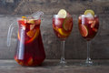 Summer sangria on a rustic wood Royalty Free Stock Photo