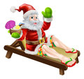 Summer santa illustration a christmas illustration of relaxing in a sun lounger on the beach or by the pool with a drink and Royalty Free Stock Image