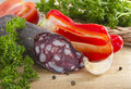 Summer sausage and vegetables. Royalty Free Stock Photo