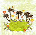 Summer scene, palms, vector Stock Photo