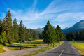 Summer scenic view of rocky mountains and road in High Tatras,