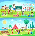 Summer School and Childrens Camp Illustrations Royalty Free Stock Photo