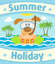 Summer sea background with dog card Royalty Free Stock Photography