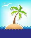 Summer sea background with an island and a palm tree Stock Image