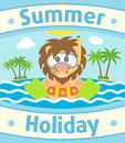 Summer sea background with lion card Royalty Free Stock Photo