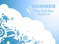Summer sea background mozaic with cloud and vacations design elements Royalty Free Stock Photography