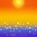 Summer sea background with yellow bokeh. Royalty Free Stock Photo