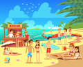 Summer sea beach with sunbathing relaxing young women and men vector illustration