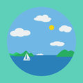 Summer sea flat vector illustration Stock Photography