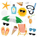 Summer sea icon set Stock Photography