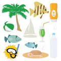 Summer sea icon set Stock Images