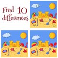 Summer sea sand castle and toys find 10 differences quiz vector cartoon illustration