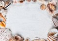 summer, sea shells. Beautiful summer background texture Royalty Free Stock Photo