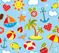 Summer seamless background bright with symbols of Stock Photography