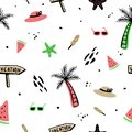 Summer seamless pattern background with hand drawn style.