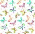 Summer seamless pattern with butterflies