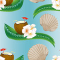 Summer seamless pattern with coconut cocktail and  leaves. Royalty Free Stock Photo
