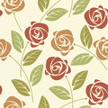 Summer seamless pattern with colorful roses and leaves on ivory Royalty Free Stock Photo