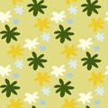 Summer seamless pattern with daisy flowers. Sunny design in yellow,blue,white and green colors. Simple backdrop Royalty Free Stock Photo