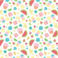 Summer seamless pattern with summer day food elements clip art set Royalty Free Stock Photo