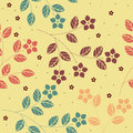 Summer seamless pattern with decorative flowers and leaves